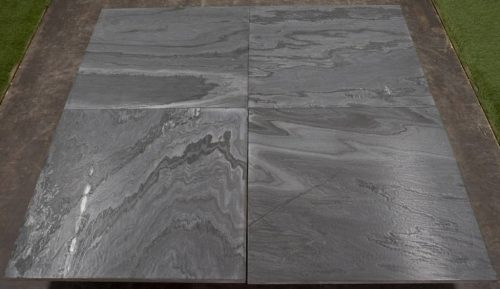 Natuursteen binnentegel - 60x60 - Midnight black leather - Art nr 157